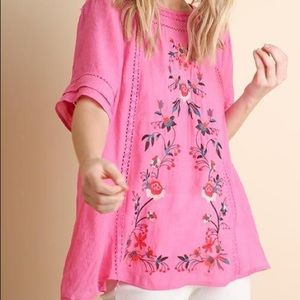 Umgee Sunset Floral Embroidered Shirt! Size S!